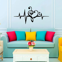 Music Puls Treble Clef   Bass Clef Heart Wall Decal Vinyl Sticker Wall Decor Home Interior Design Art Murals VK92