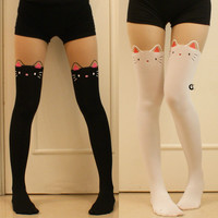 Women Girl Cat kitty Bow Tail Mock Stocking Fake Thigh-High Tight Pantyhose
