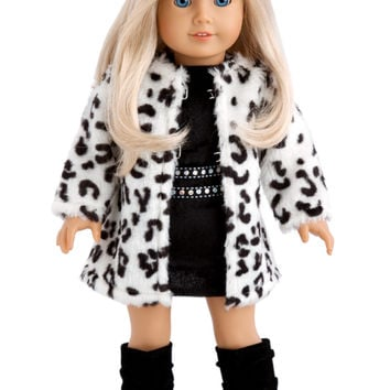 Glamour Girl - Clothes for 18 inch Doll - Snow Leopard Faux Fur Coat with Black Velvet Dress and Boots