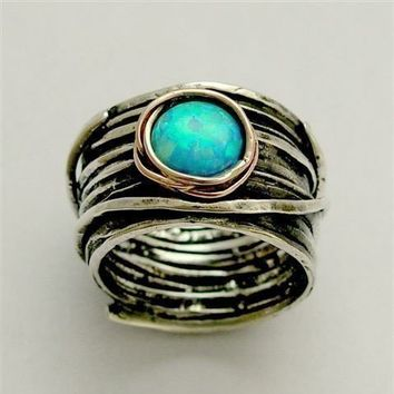 Sterling silver and rose gold ring with blue opal gemstone - Imagine life in peace 2