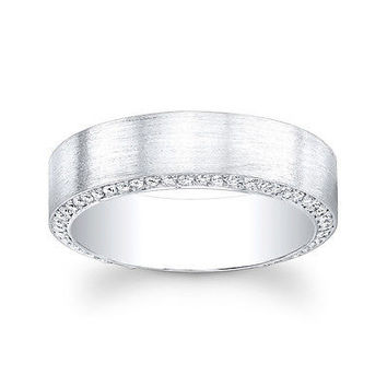Men's 14kt white gold pave diamond wedding band 0.75 ctw F-VS2