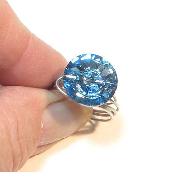 Aquamarine Ring, Swarovski Wire Wrapped Ring, March Birthstone Ring