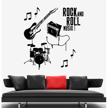 Vinyl Wall Decal Musical Instruments Rock N Roll Band Drums Stickers Unique Gift (1961ig)