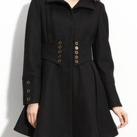 BETSEY JOHNSON - Wool Blend Military Style Coat - Small