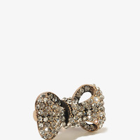 Antiqued Rhinestoned Bow Ring