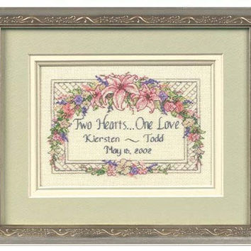 Wedding Announcement, Marriage, Wedding Gift, Anniversary Gift, Personalized, Completed Cross Stitch, Engagement Gift, Bridal Shower Gift