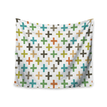 "Daisy Beatrice ""Hipster Crosses Repeat"" Multicolor Wall Tapestry"