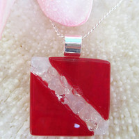 Dive flag fused glass pendant