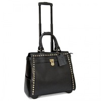 "Cabrelli 15.6"" Women's Rolling Laptop Bag - Pyramid Studs Rollerbrief - Laptop Bags"