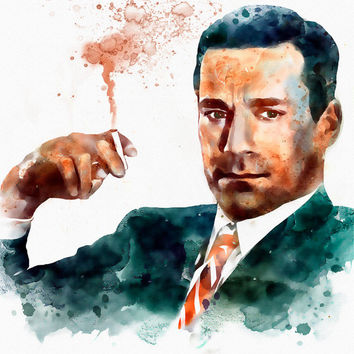 Jon Hamm as Don Draper watercolor portrait for INSTANT DOWNLOAD, Famous faces, Celebrities portraits, Mad Men, Wall art, Man smoking