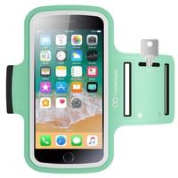 Maxboost Armband [Original+] For Large Phone, iPhone X, iPhone 8 Plus, iPhone 7/6/6S PLUS, Galaxy s8 Plus, LG G6, Note 5 (fits Otterbox Defender Lifeproof case) Exercise Running Pouch Key Holder -Mint