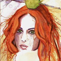 Fine Art Print of Red Head Watercolor Painting