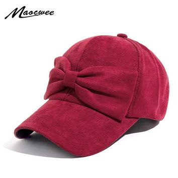 Trendy Winter Jacket 2018 Spring Autumn Baseball Cap for Woman's Cotton Hat Snapback Hats Lovely Fashion Bow Tie Dress up Beautiful Girl Bones AT_92_12