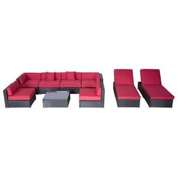 Outsunny 9pc Outdoor Patio Rattan Wicker Sofa Sectional and Chaise Lounge...
