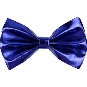 Metallic Faux Leather Hair Bow, Royal