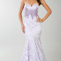 Floor Length Strapless Sweetheart Lace Mermaid Dress