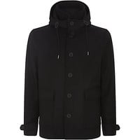 Burberry Brit Wool-Cashmere Melton Hooded Coat