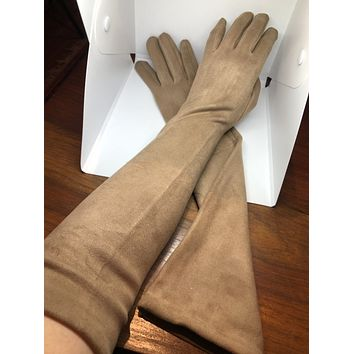 Vintage Style Camel Baige Ultraseude Fleece Long Opera Gloves