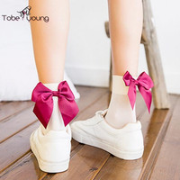 2017 New Lovely Ribbon Bow Knot Silky Velvet Ankle Socks For Women Girl Mesh Fishnet Socks Slippers Korean Harajuku Style femme