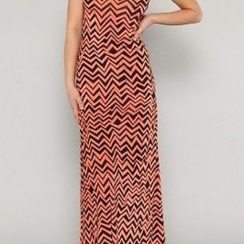Hot Sexy Sleeveless Chevron Zig Zag MAXI LONG DRESS Chiffon Full Length Skirts