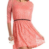 Belted Lace A-Line Dress: Charlotte Russe