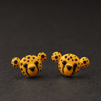 Cheetah Earrings Cute Studs Polymer Clay Novelties by PixieHearts