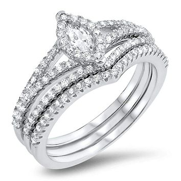 Petite Halo Marquise Engagement Ring with 2 Matching Curved Bands