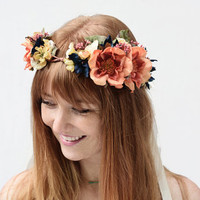 Vintage Flower Crown - Orange Rose Floral Crown, Navy, Autumn Wedding, Orange, Blue and Ivory, Flower Headpiece, Bridal Flower Crown, Orange