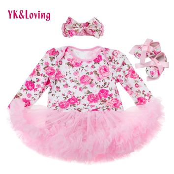 Free Shipping Cute Baby Sets Vestido Infantil Floral Newborn Ruffle Tutu Dress Infant Girls Dress Clothes Outfits for Girl Z531