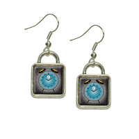 Alarm Clock Old Fashion Teal Gold Square Dangle Drop Earrings