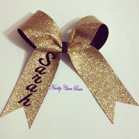 Custom Name Gold Glitter Cheer Bow with pin attachment