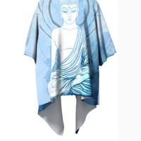 Blue Buddha Kimono Robe - Boho Geometry Kimono - Modern Wearable Art - Ombre Gradient Watercolor Clothing Handmade Art Robe - Drape Elegant
