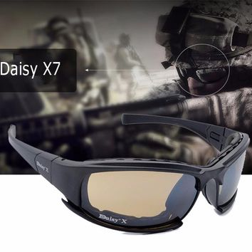 New Daisy X7 Glasses Military  Goggles Bullet-proof Army Sunglasses With 4 Lens Original Box Men Shooting Eyewear Lens glasses