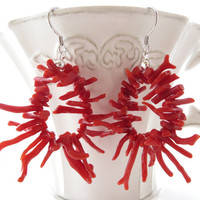 Red coral earrings from Torre del Greco, sterling silver 925 jewels, dangle earrings, italian coral jewelry, coral branches, Sofia's Bijoux