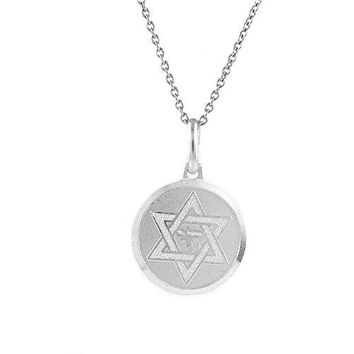 Ben and Jonah 925 Sterling Silver Chai in David Star Pendant with 18 inch  Link Chain