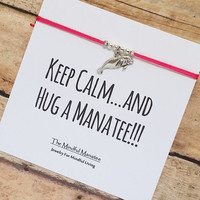 "Silver Manatee Friendship Bracelet with ""Keep Calm And Hug A Manatee"" Card 