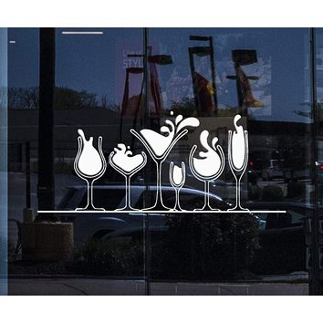 Window Decal for Business and Wall Sticker Vinyl Decal Various Glasses of Alcohol Martini Wine Whiskey Unique Gift (n280w)