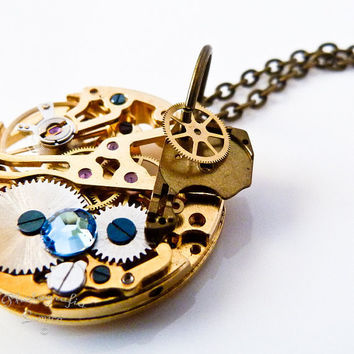 Steampunk Pocket Watch Mechanics Pendant Necklace -  Watch Skeleton Gears and Blue Swarovski Crystal Necklace