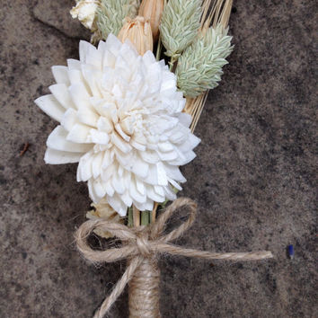 Handmade Wedding Boutonnieres - Sola China Flower, Wheat Boutonnieres, Phalaris Boutonnieres, Larkspur blooms, Florentine Pods, Twine Rustic