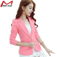 1pc Women Blazer Solid Color Office Ladies OL Suit Coat Slim Casual Suit Womens Blazers Female Blazers Work Wear Jacket YL072