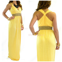 Lockhart Yellow Embroidered Maxi Dress