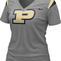 Purdue Boilermakers Women's Dark Grey Heather Nike Football Replica T-Shirt