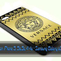 versace aztec cevron gold design for iPhone 4/4s, iPhone 5/5s/5c, Samsung Galaxy S3/S4 Case
