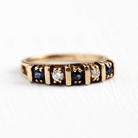 Vintage Diamond Band - 14k Rosy Yellow Gold Genuine Sapphire Ring - Retro 1970s Size 5 3/4 Bridal Wedding Anniversary Blue Gem Fine Jewelry