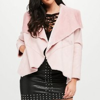 Missguided - Curve Pink Waterfall Shearling Jacket