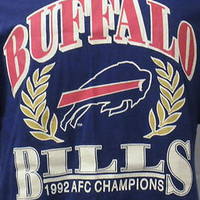 VTG 1992 BUFFALO BILLS NFL FOOTBALL AFC Champs Graphic Large Cotton T-SHIRT