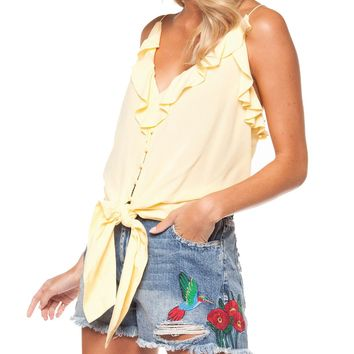 Button Front Cami - Lemon by Dex