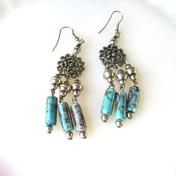 Turquoise Blue Chandelier Dangle Post Earrings Vintage Collectible Gift Item 2424