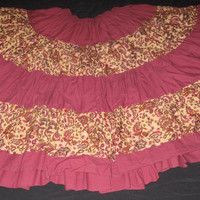 BURGUNDY / FLOWER PRINT TIER SKIRT TS40