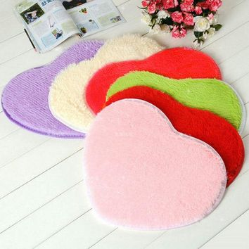 Cute Heart Mat Soft Water Absorbent Bath Bathroom Floor Shower Rug Home Textile Bedroom Bedside Anti-Slip Rug #253235